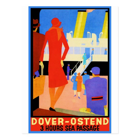 Vintage Travel Poster: Dover Ostend Postcard