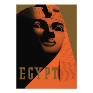 Vintage Travel Poster Egypt Africa with Sphinx Personalized Invitations