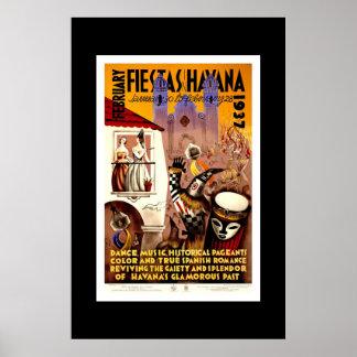 Vintage Travel Poster Fiestas Havana Cuba Print