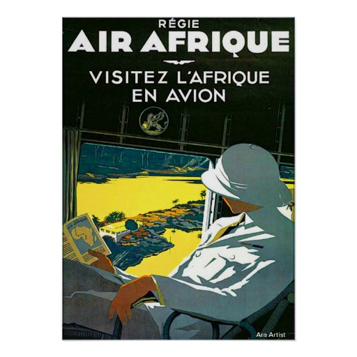 VINTAGE TRAVEL POSTER FLY TO AFRICA ARA AEON