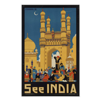 Vintage Travel Poster for India
