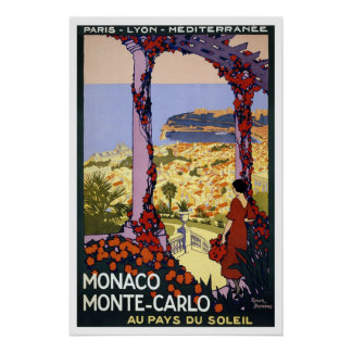 Vintage Travel Poster for Monaco & Monte Carlo