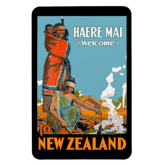 Vintage Travel Poster for New Zealand Rectangular Photo Magnet