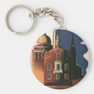 Vintage Travel Poster from Boston, Massachusetts Key Ring