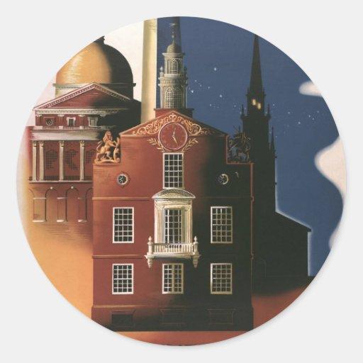 Vintage Travel Poster from Boston, Massachusetts Round Sticker
