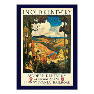 Vintage Travel Poster In Old Kentucky NC Wyeth Personalized Invites