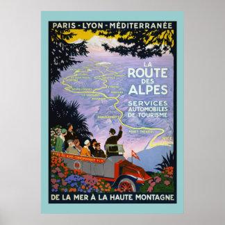 Vintage Travel Poster - La Route des Alpes