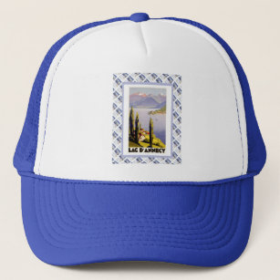 b4ba3f69 Vintage travel poster, Lac d'Annecy Trucker Hat