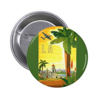 Vintage Travel Poster, Los Angeles, California 6 Cm Round Badge