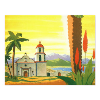 Vintage Travel Poster Los Angeles California Personalized Invite