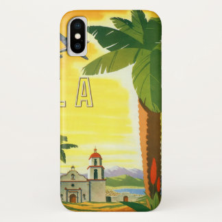 Vintage Travel Poster, Los Angeles, California iPhone X Case