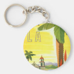 Vintage Travel Poster, Los Angeles, California Basic Round Button Key Ring