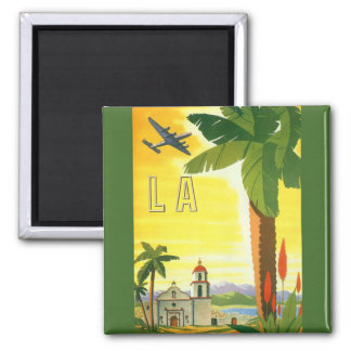 Vintage Travel Poster, Los Angeles, California Square Magnet