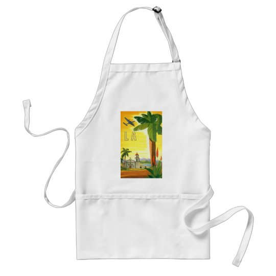 Vintage Travel Poster, Los Angeles, California Standard Apron