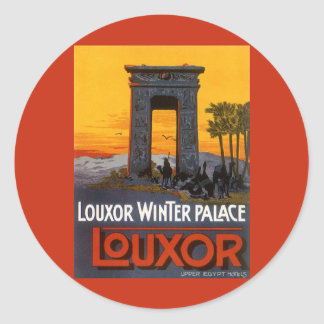 Vintage Travel Poster, Louxor Winter Palace, Egypt Classic Round Sticker