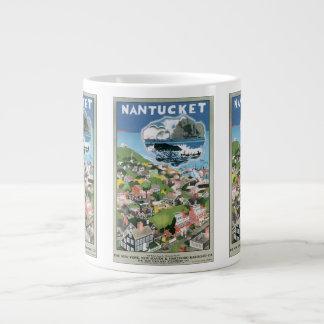Vintage Travel Poster, Map of Nantucket Island, MA Jumbo Mug