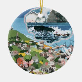 Vintage Travel Poster, Map of Nantucket Island, MA Round Ceramic Decoration