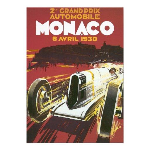 Vintage Travel Poster, Monaco Grand Prix Auto Race Invitation