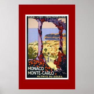 Vintage Travel Poster Monaco Monte Carlo