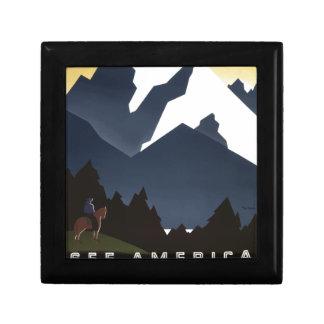 Vintage-Travel-Poster-Montana-America-USA Small Square Gift Box