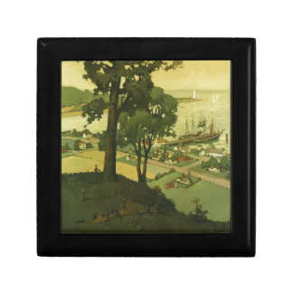 Vintage-Travel-Poster-New-England-USA-2 Small Square Gift Box