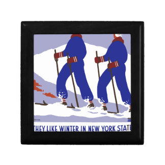 Vintage-Travel-Poster-New-York-America-USA Small Square Gift Box