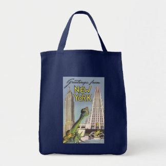 Vintage Travel Poster, New York City Landmarks Canvas Bags