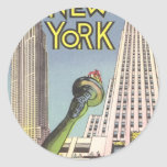 Vintage Travel Poster, New York City Landmarks Round Sticker