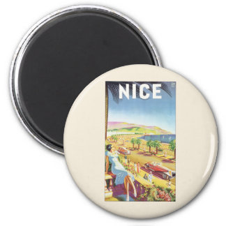 Vintage Travel Poster, Nice, France French Riviera Magnet