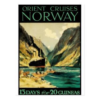 Vintage Travel Poster: Orient Cruises - Norway Postcard