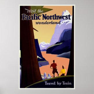 Vintage Travel Poster Pacific Northwest Print