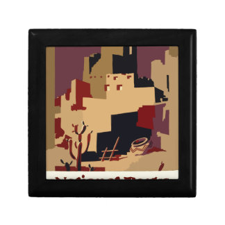 Vintage-Travel-Poster-Pueblos-Of-The-Southwest Small Square Gift Box