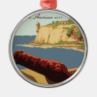 Vintage Travel Poster Puerto Rico Christmas Ornament