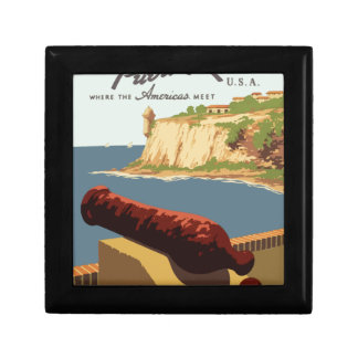 Vintage-Travel-Poster-Puerto-Rico Small Square Gift Box