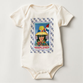 Vintage travel poster,Roquebrune, Cap Martin Baby Bodysuit