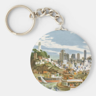 Vintage Travel Poster San Francisco Bay Ferry Boat Basic Round Button Key Ring