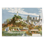 Vintage Travel Poster San Francisco Bay Ferry Boat Greeting Card