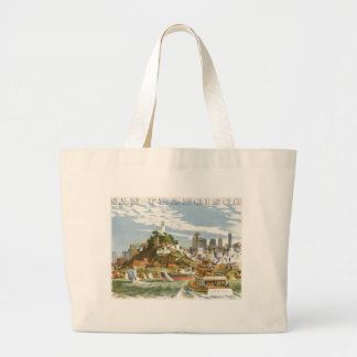 Vintage Travel Poster San Francisco Bay Ferry Boat Jumbo Tote Bag