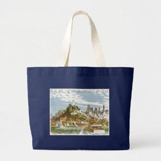 Vintage Travel Poster San Francisco Bay Ferry Boat Large Tote Bag