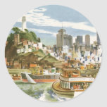 Vintage Travel Poster San Francisco Bay Ferry Boat Round Sticker