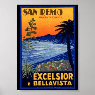 Vintage Travel Poster, San Remo Excelsior Italy