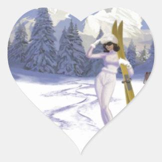 Vintage travel poster, Ski Italy Heart Sticker