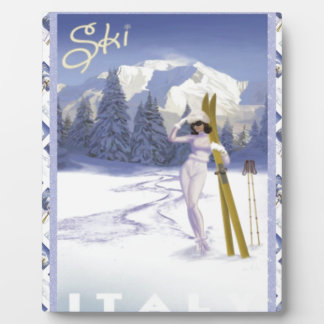 Vintage travel poster, Ski Italy Plaque