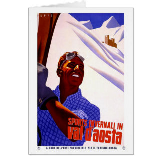 Vintage Travel Poster - Skiing in the Italian Alps Card