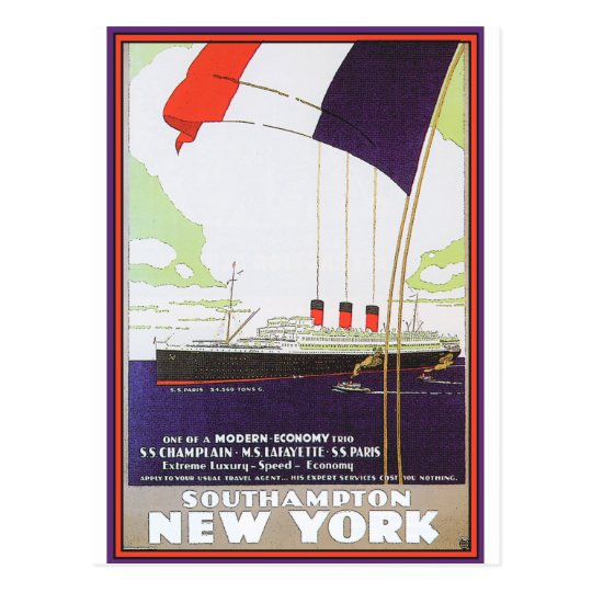 Vintage Travel Poster: Southampton New York Postcard