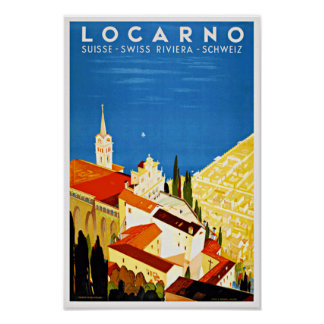 Vintage Travel Poster Swiss Locarno Riviera Print