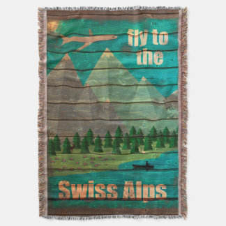 Vintage Travel Poster Throw Blanket