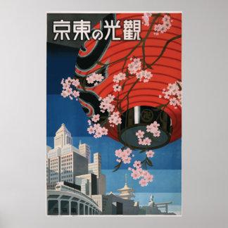 Vintage Travel Poster Tokyo Japan
