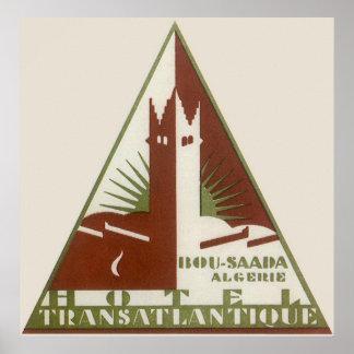 Vintage Travel Poster Trans Atlantic Hotel Algeria