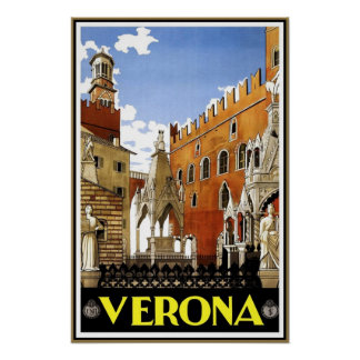 Vintage Travel Poster Verona Travel Italy Poster
